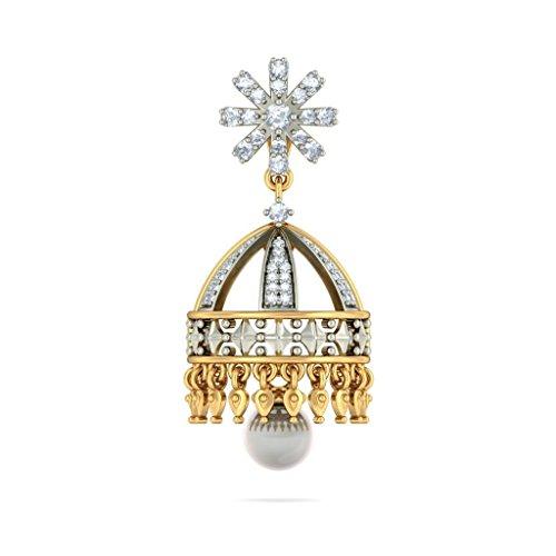 14K Or jaune 1.06carat au total White-diamond (IJ | SI) et blanc perle Pendants d'oreilles