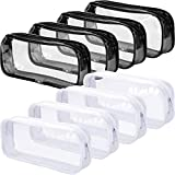 8 Pieces Clear PVC Pen Case Transparent Pencil Bag Makeup Pouch with Zipper Portable Pencil Bags, Black, White