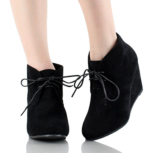Anna Sally-5 Womens Lace up Wedge Ankle Bootie Black