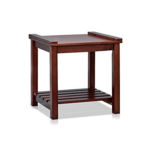 MUSEHOMEINC Wood End Table/Night Stand with 1 Tier Wooden slats Storage Shelf,Multipurpose Home Furniture, Espresso Finish