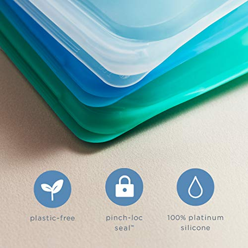 Stasher Platinum Silicone Food Grade Reusable Storage Bag,Aqua (Sandwich)   Reduce Single-Use Plastic   Cook, Store, Sous Vide, or Freeze   Leakproof, Dishwasher-Safe, Eco-friendly  28 Oz