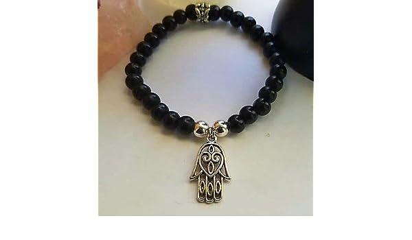 Hamsa Hand Black Obsidian Bracelet