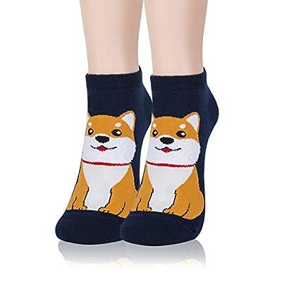 Kikiya Socks 5 Pairs of Women's Cute Ankle Socks Bow Wow | Cute Dog Socks Women | Short Socks Women | Animal Socks For Women | Poodle Socks For Women | Puppy Socks | Cute Animal Socks | Cotton Socks at Women's Clothing store