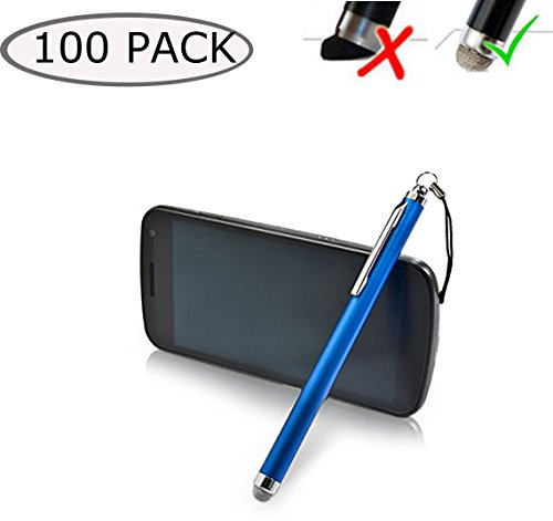 100 Wholesale Lot E3tronics FibreMesh Stylus Pen with Headphone Clip - 4th Generation with Ultra Durable FiberMesh Fabric Tip for iPhone, iPad, Samsung, HTC and all other touchscreen devices (Blue) by E3tronics
