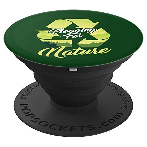 Plogging Jogging Recycling Nature Lover Environmentalist PopSockets Grip and Stand for Phones and Tablets (Cell Phone Recycling)