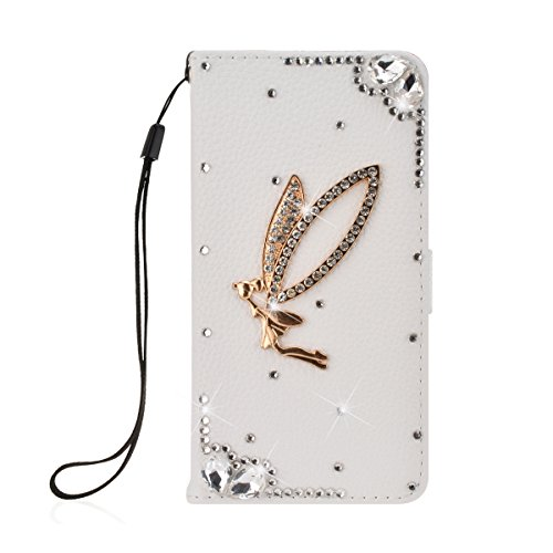 SmartLegend Bling PU Cover Samsung Galaxy S7 Edge Phone Case Wallet Lanyard Strap Carrying Glitter Rhinestone Stylish Smartphone Leather Flip Case Stand Function Cellphone Bumper with Back Magnet Closure and Card Slots Holster Bookstyle Mobile Phone Protective Cover - White Angel