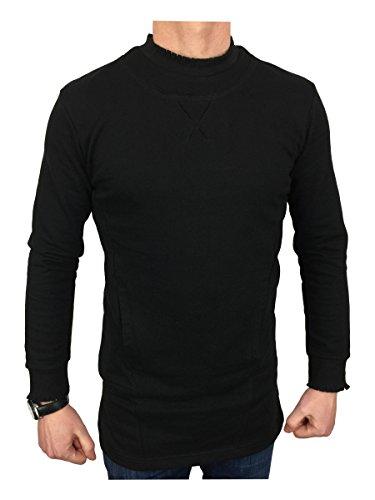 King Kouture Herren Langarmshirt schwarz schwarz