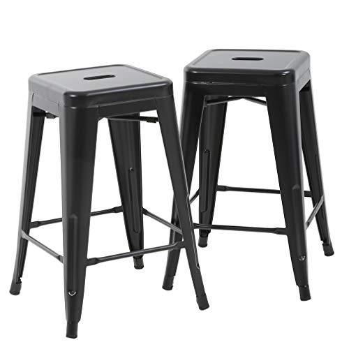 "FDW Bar Stools Counter Stool Barstools Set of 2 Industrial Metal Bar Stools Patio Furniture Modern Backless 24"" Stackable Metal Indoor/Outdoor Bar Stools Kitchen Counter Stools Chairs"