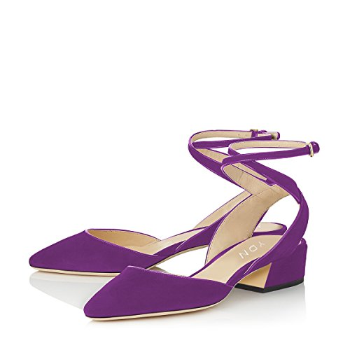 YDN Women's Low Block Heel Sandals Pointy Toe Slingback D'Orsay Pumps with Ankle Strap Purple 8.5 - Purple Tall Shoes