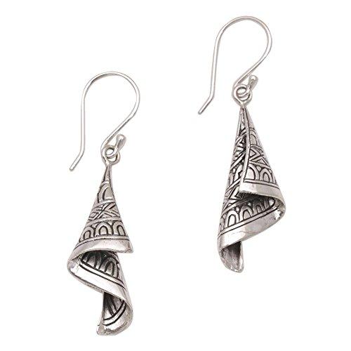 NOVICA .925 Sterling Silver Dangle Earrings 'Shining Songket'