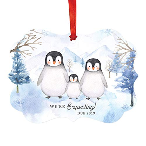 Andaz Press Pregnancy Baby Announcement Fancy Frame Christmas Keepsake Ornament, We're Expecting! Due 2019 Watercolor Penguin Family, 1-Pack, Includes Ribbon and Gift Bag