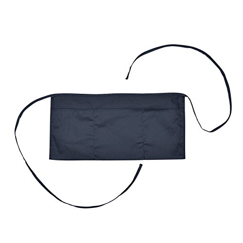 DALIX Waist Aprons Commercial Restaurant Home Bib Spun Poly Cotton Kitchen (3 Pockets) in Navy Blue
