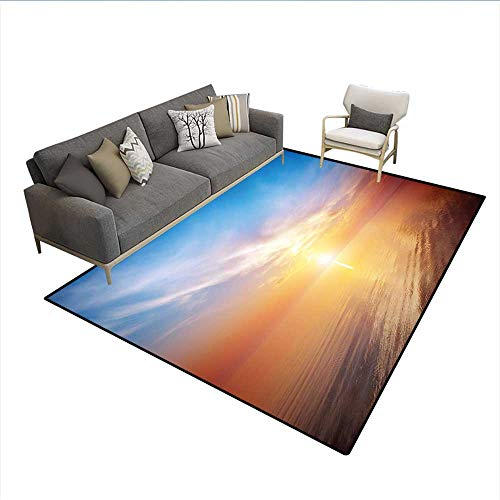 - Floor Mat,Magical Horizon Seascape Bay Ocean Coastal Charm Sky Tranquil Summer Image,18014D Printing Area Rug,Orange and Blue 6'x8'