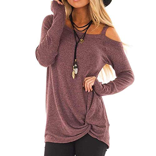 (Sunmoot Clearance Sale Casual T-Shirt for Womens Cold Shoulder Short Long Sleeve Sleeveless Knot Front Tunic Tops Blouse)