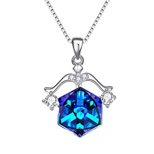 Libra Zodiac (EleQueen 925 Sterling Silver CZ Square Libra Zodiac Constellation Sign Pendant Necklace Blue Made with Swarovski Crystals)