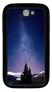 Samsung Galaxy Note II N7100 Case,Awesome Milky Way And Mountains Tree TPU Custom Samsung Galaxy Note II N7100 Case Cover Black