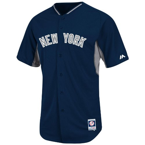 Majestic New York Yankees Navy BP Cool Base Authentic Performance Jersey (Adult 52)