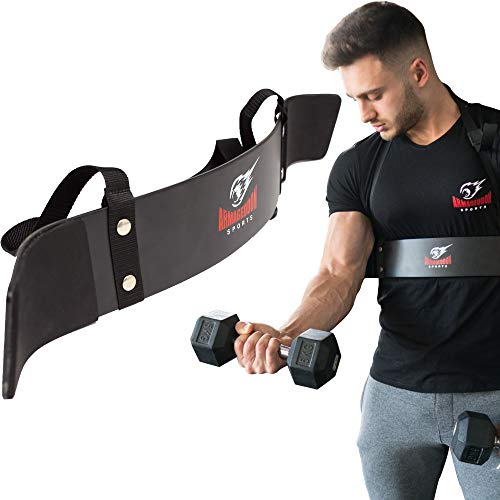 Premium Heavy Duty Arm Blaster Bicep Curl Support + Bonus Premium Lifting Straps, Arnold Bodybuilding Arm Curl Isolator, Gain Strength in Your Arms, Arm/Biceps Support