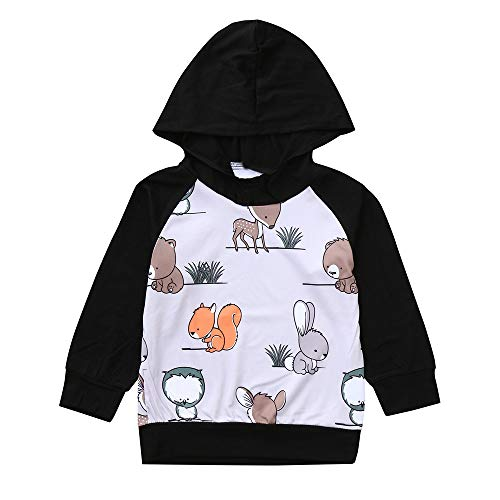 XoiuSyi,Infant Baby Boys Girls Long Sleeve Hooded Squirrel Animal Print Tops Outfits -