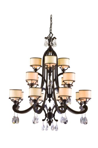 Roma Chandelier - 16-Light - Classic Roman Silver Finish with Cream Ice Glass and Crystal
