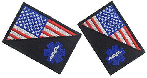QTao UPA159 Hook & Loop Velcro Embroidered American Flag w/ EMT Paramedic Medic Tactical Morale Patches 2pcs (Color (Baby Paramedic Costume)