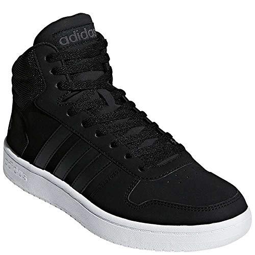 adidas Men's Hoops 2.0 Mid Sneaker, Black/Carbon, 9 M US