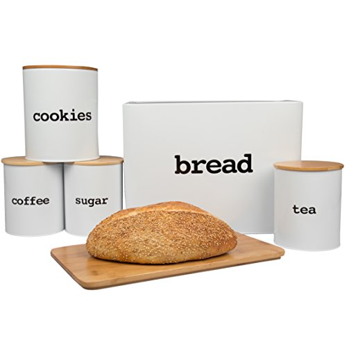 Bread Box (Extra Large) and 5 Piece Kitchen Canister Set w Bread Cutting Board- Deluxe Food Storage Containers with Air Tight Bamboo Lids