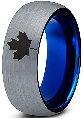 Canadian Jewelry - Zealot Jewelry Tungsten Canadian Maple Leaf Band Ring 8mm Men Women Comfort Fit Blue Dome Brushed Gray Polished Size 8