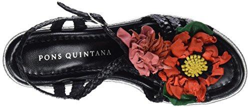 Pons Quintana Ladies 6979.000 Sandali Con Il Cinturino Nero (nero 09)