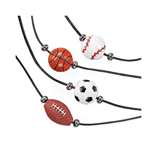 Fun Express - Resin Sport Ball Necklaces - Jewelry - Necklaces - Necklaces - Novelty - 12 Pieces