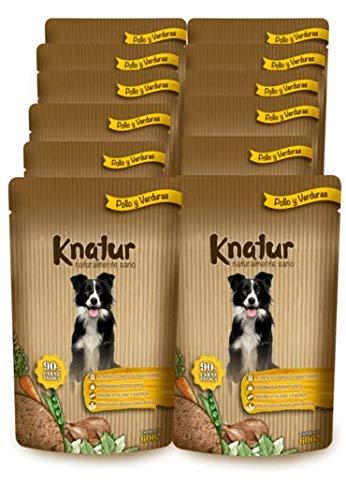 Cocido Natural casero para Perros, húmedo con Carne Fresca y Verduras Frescas – 90% Carne Knatur (12x600gr) (Pollo)