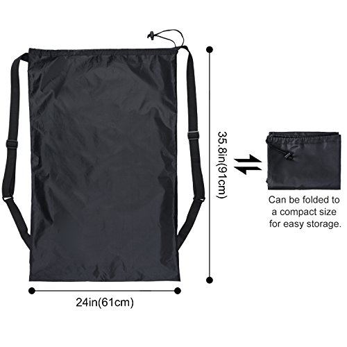 Lifewit 24'' x 36'' Laundry Backpack Bag, Heavy Duty Laundry Washing Bags with Door Hooks and 2 Adjustable Shoulder Straps for School Dormitory, Camping,Laundry Room, Outdoor Travel, Black by Lifewit (Image #3)