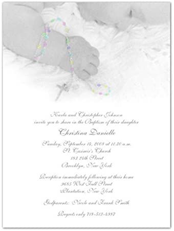 amazon com rosary beads baptism christening invitations set of