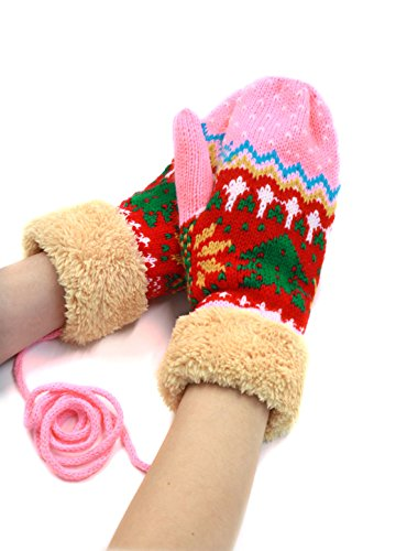 uxcell レディース ミトン手袋 ニット グローブ ぬいぐるみパネル クリスマスツリー 冬 防寒 保温 暖かい
