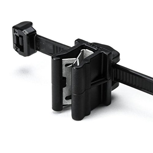 Hellermann Tyton 156-00871 Cable Tie and Edge Clip, 50 lbs, 8.0'' Long, EC10, Panel Thickness .04''-.12'', PA66HS, Black  (Pack of 500) by Hellermann Tyton
