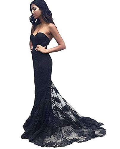 Mermaid Prom Dress Lace Sweetheart Sleeveless Strapless Black Evening Gowns Long 2019 Bridesmaid Dress ()