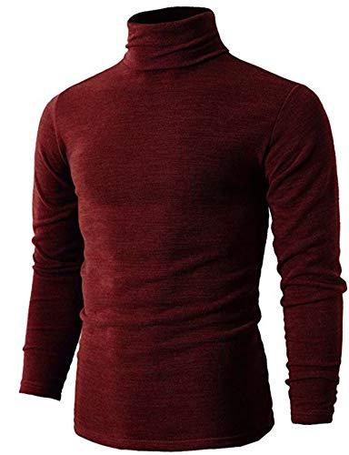 Heavyweight Mock Turtleneck - Men's Premium Heavyweight Long Sleeve Mock Neck T-Shirt Pullover Red XL