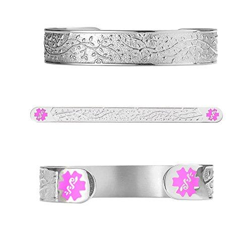 Divoti Deep Custom Laser Engraved Filigree Olive 316L Medical Alert Bracelet -6