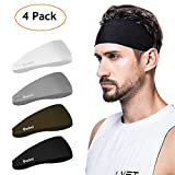 poshei Mens Headband (4 Pack), Mens Sweatband & Sports Headband for Running, Crossfit