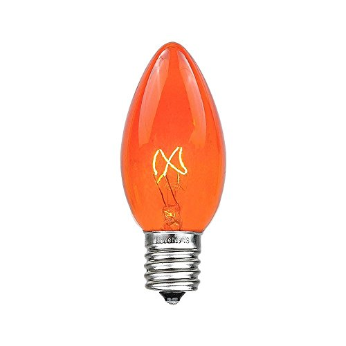 Novelty Lights 25 Pack C9 Outdoor Christmas Replacement Bulbs, Amber, E17/C9 Base, 7 Watt