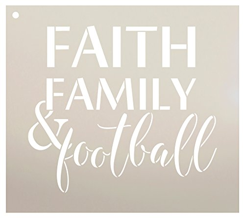 Faith Family and Football Stencil by StudioR12 | Reusable Mylar Template | Fall Sports - Use to Paint Wood Signs - Wall Art Pallets - T-Shirts or Pillows - DIY Home Decor - Select Size (9