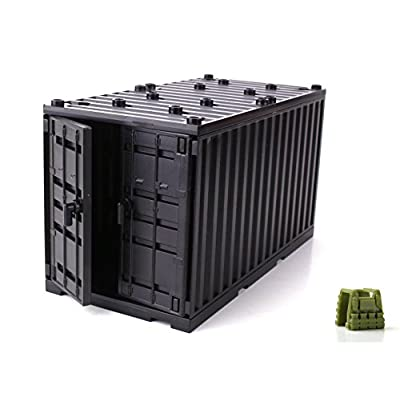 Black Cargo Shipping Container Compatible with Toy Brick Minifigures: Toys & Games