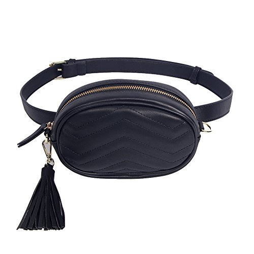 CILLA Quilted Leather Fanny Pack Waist Bag Stylish Travel Cell Phone Tassel Zipper Bum Bag