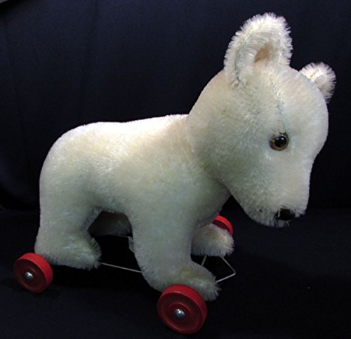 1980s Hermann Mohair Teddy Bear Original on Wheels West Germany 12 (Hermann Mohair Teddy Bear)