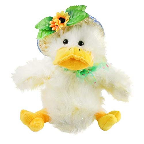 "Houwsbaby Stuffed Duck Electronic Music Animated Barn Plush Toy Singing""You are My Sunshine"" Interactive Dancing Puppet in Straw Hat Xmas Gift for Toddlers Birthday Christmas, 12 inches"