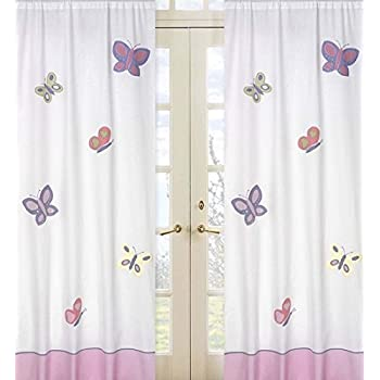 Amazon Com Pink And Purple Butterfly Window Treatment