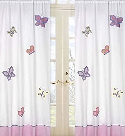 Amazon.com : Pink and Purple Butterfly Window Treatment Panel by ...
