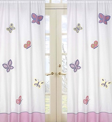 Pink and Purple Butterfly Window Treatment Panel by Sweet Jojo Designs - Set of 2 (Window Bedding Panel)