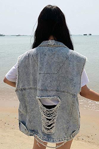 Sciolto Jeans Tempo Libero Fashion Azzurro Giacca Estivi Gilet Vintage Ragazze Style Camicetta Primaverile Festa Donna Tendenza Cavo Smanicato 4pvddx7q