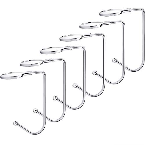 Sunshane 6 Pieces Christmas Stocking Holders Mantel Hooks Hanger Christmas Safety Hang Grip Stockings Clip for Christmas Party Decoration, Silver (Mantle Stocking Holders Flat For)
